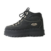 Chunky Platform Skechers Tennis Shoes 90s Club Kid Health Goth Lace Up Black Leather Hi Tops Womens Size US 8.5 UK 6.5 EUR 39