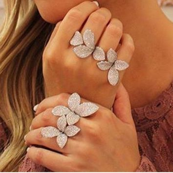 SLJELY 925 Sterling Silver Luxury Leaf Flower AAA Cubic Zirconia Resizable Ring For Women Glitter Elegant Party Hand Made Rings