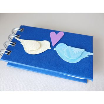 Love Birds - Guest Signature Book - Mini Journal - Spiral Bound - Notebook 2x4