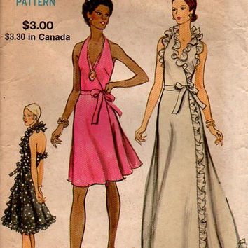 1970s Vogue Sewing Pattern 8355 Retro Disco American Hustle Style Wrap Dress Evening Gown Ruffle Neck Hem Bust 32