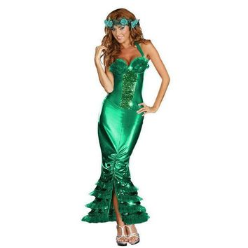 PEAPUNT Sexy Sea Siren Costume Adult Halloween Mermaid Fancy Dress Girl's summer dress