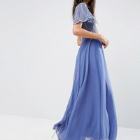 ASOS Embellished Bodice Maxi Dress with Scallop Sleeve at asos.com