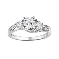 DiamonLuxe Sterling Silver 1.65-ct. T.W. Simulated Diamond Swirl Ring (White)
