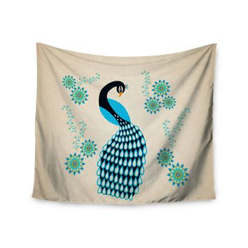 "Cristina Bianco Design ""Peacock"" Blue Black Illustration Wall Tapestry"