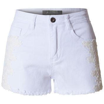 LE3NO Womens High Waist Frayed Denim Shorts with Floral Crochet