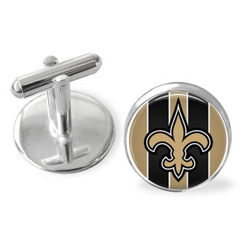 Custom made cuff links, New Orleans Saints tie clip, Saints gift set.  Perfect for a Groomsmen gift, Father's Day gift or business gift.