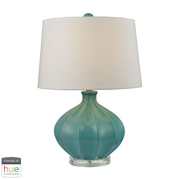 Organic Ceramic Table Lamp in Seafoam Glaze - with Philips Hue LED Bulb/Dimmer