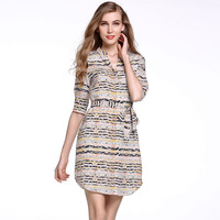 Vintage Print Cuff Sleeve V-Neck Belted Bow Sheath Dress
