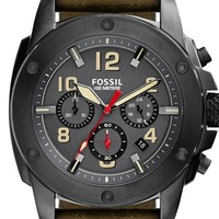 Men's Fossil 'Modern Machine' Chronograph Leather Strap Watch, 45mm - Olive/ Black