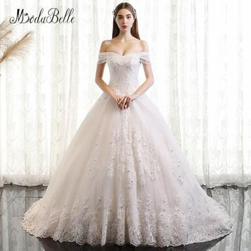 modabelle Off Shoulder Lace Beaded Wedding Dress Luxury Pearls Long Royal Train Wedding Ball Gowns Sweetheart Bridal Dress 2018
