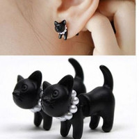 Punk Cool Simple Black Stereoscopic pearl Cat Kitten Impalement Stud Earring 1Pc = 1697624708