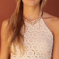 West Coast Wardrobe Sun Goddess Crochet Halter Top in Natural | Boutique To You