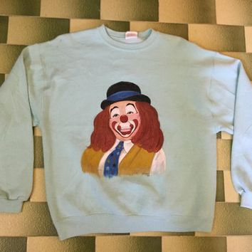 Vintage 80s 1989 carol clown painting sweater / pullover / jumper / size XL