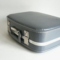 Small Gray Travel Suitcase 1960s Overnight Hard Side Luggage