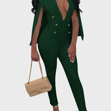 Green Double Breasted Cloak Cape Romper Bodycon Deep V-neck Clubwear Party Long Jumpsuit
