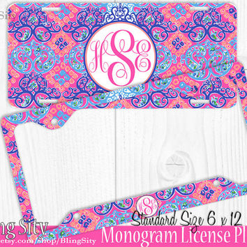 monogram license plate frame holder metal sign car truck tags personalized custom vanity pink purple coral