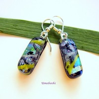 Beautiful Day Handmade Layered Dichroic Fused Glass Dangle Earrings
