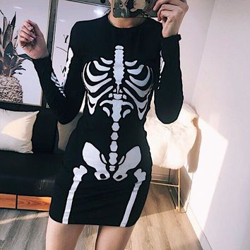 Punk Skull Printing O-Neck Long Sleeve Women Dress Skeleton Dress Casual Clothes