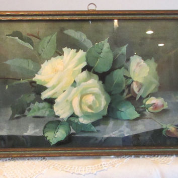 1920s Framed Rose Floral Print, Framed Print Wall Hanging, Home Decor, laslovelies