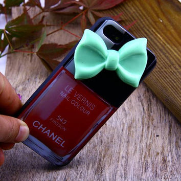 iphone 5 case -Le Vernis Nail Colour 543 FRACAS Chanel iphone 5 Cover,Chanel iphone Cover  ,Nail Polish Cover ,Green Bow Know Case