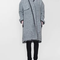 IMAGO-A Lacquer Leather Trimmed Long Coat - Charcoal « Pour Porter