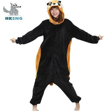 2017 New Animal Adult Raccon Pajamas High Quality Cartoon Flannel Footed Kigurumi Onesuits Cosplay Costumes For Women Men