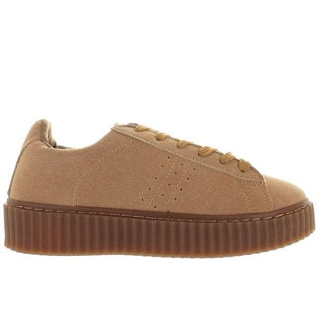 Wanted Paprika - Taupe Suede Platform Sneaker