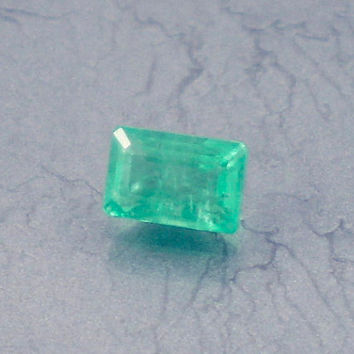 Emerald: 0.61ct Green Emerald Shape Gemstone, Natural Hand Made Faceted Gem, Loose Precious Beryl Mineral, Cut Crystal Jewelry Supply 10107