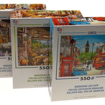 Ceaco Weekend Escape Jigsaw Puzzles 550 Pieces 24x18 Set of 3 Made USA