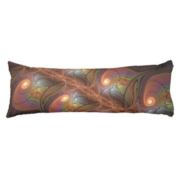 Colorful Fluorescent Abstract Modern Brown Fractal Body Pillow