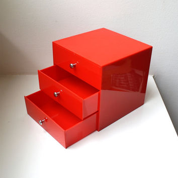 Mod Red Desk Organizer Jewelry Box Caddy Mid Century Modern 70's Finland