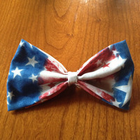 American Flag Print Hair Bow by JuliasBows on Etsy