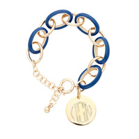 Royal Blue Enamel Link Bracelet