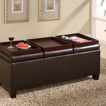 Leather like vinyl storage ottoman with 3 flip top trays with storage underneath
