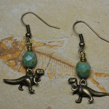 Dinosaur Earrings Dangle T. Rex Bronze Charm Earrings with Czech Beads Natural History Jewelry Jurassic Park