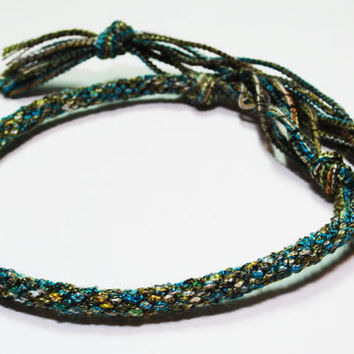 Kumihimo Unique Shoelacelike Yarn Bracelet Green by epicstitching