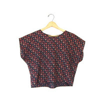 Crop Top Floral Cropped Boxy Blouse 80s Flower Print Bohemian Shirt Hippie Black Red Pink Grunge Clothing Smal Medium