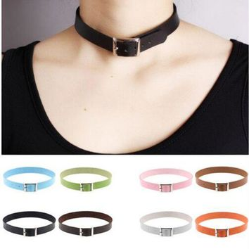 ac NOOW2 Fine quality Harajuku Belt Collar Choker Necklace PU Leather Choker Punk Goth 41*2cm