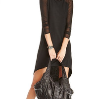 Black Mini Dres with Mesh Long Sleeve