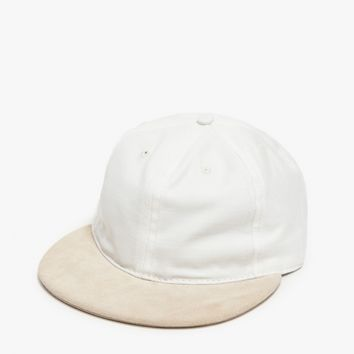 paa / Ball Cap in White/Beige Suede