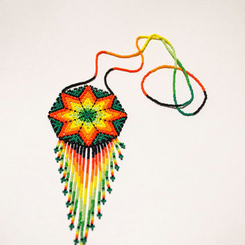 Native American Beaded Jewelry - Handcrafted Mexican Huichol Peyote Flower Necklace Boho Chic