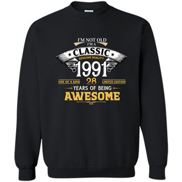 Classic Funny 1991 28th Birthday T-shirts Years Of Awesome Printed Crewneck Pullover Sweatshirt 8 oz