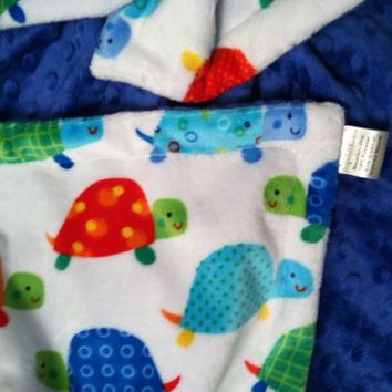 Minky Baby Blanket Turtles on White with Blue Minky Dot  Back   Car Seat - Infant Size 29 x 36