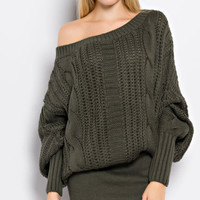 Simply Sensational Cable Knit Tunic Sweater - Olive