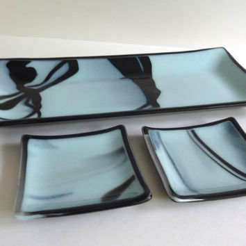 Fused Glass Sushi Set in Seafoam and Black