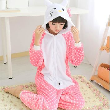 Adult Woman Lady Winter Warm Flannel fleece Hello kitty cat Onesuits Pajamas Sleepwear Halloween Cosplay Costumes Cartoon Pyjamas