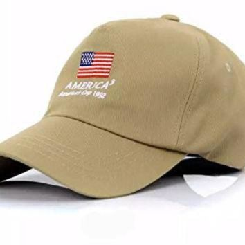 ONETOW America's Cup 1992 Baseball Cap America3 Vintage Polo Hat Muan Company Cap10 (2. Beige