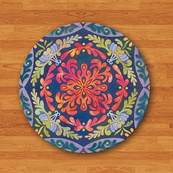 Floral BOHEMIAN Flower Blue Painting Mouse Pad Color Art Deco Canvas Drawing MousePad Work Mat Circle Personal Hand Printed Teacher Gift
