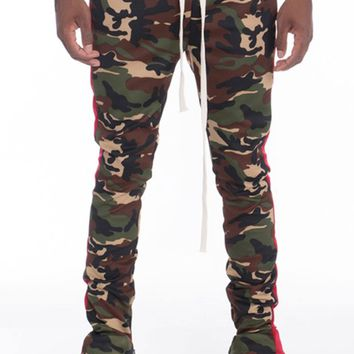 Camo Track Pants in Camo/Red