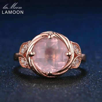 LAMOON Flower 9mm 100% Natural Round Pink Rose Quartz Ring 925 Sterling Silver Jewelry Rose Gold Romantic Wedding Band LMRI016